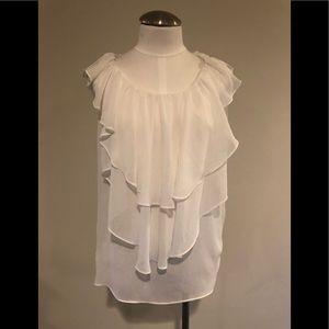 Sheer sleeveless white pullover blouse